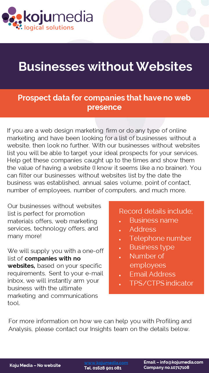 B2B data on businesses with no websites