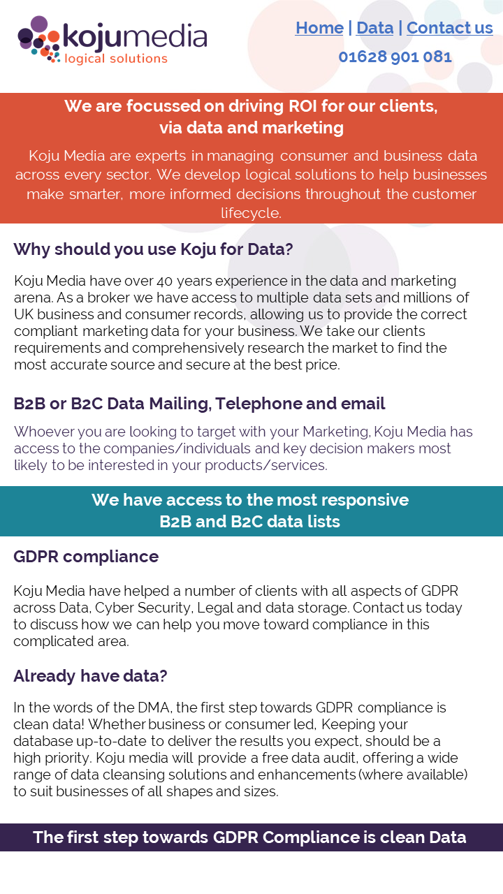 Overview of our companies Data and Marketing services